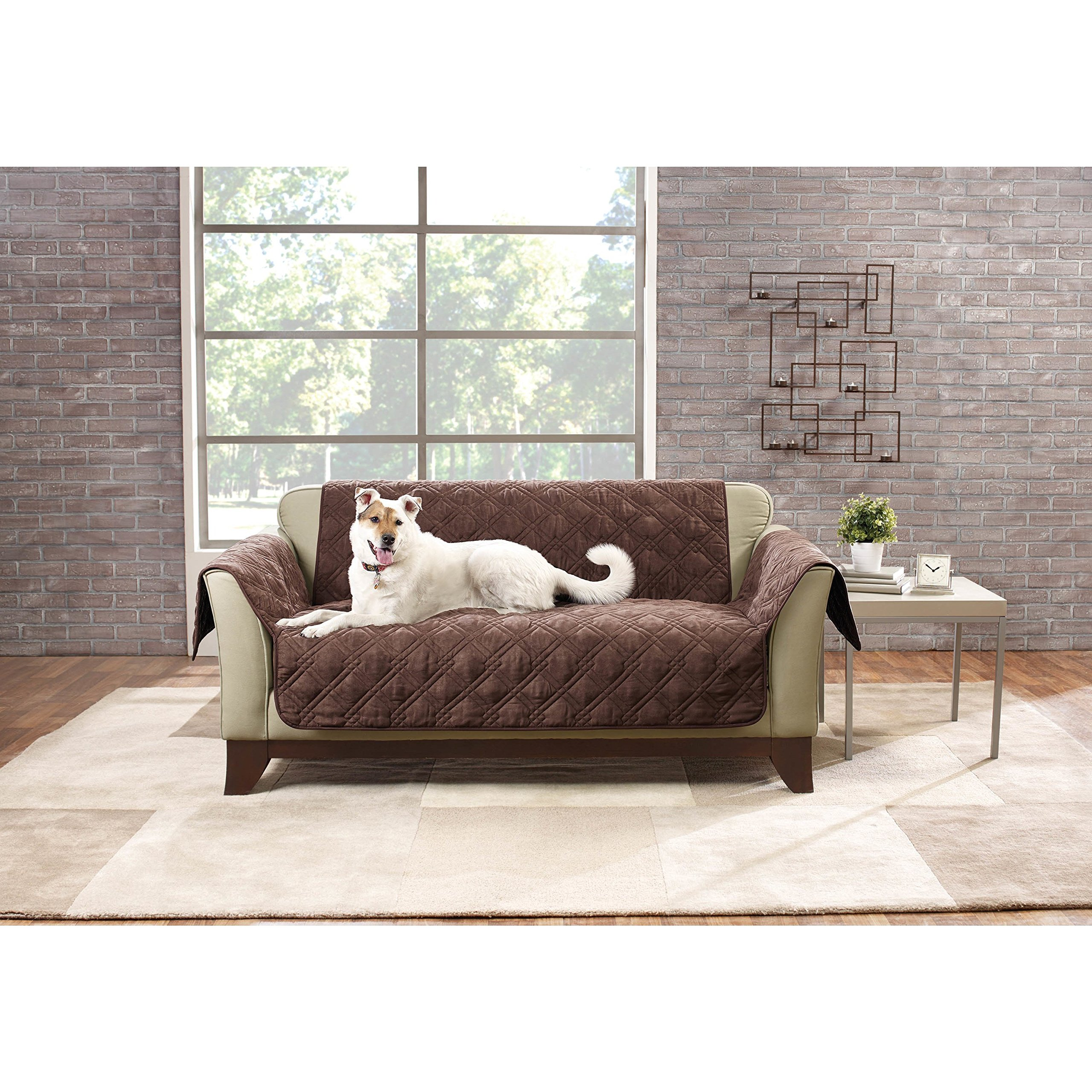 52 X 35 Inch Chocolate Solid Color Non-slip Loveseat Cover, Dark Brown Furniture Protector From Pets Children Relaxed Fit T-cushion Textured Elegant, Polyester