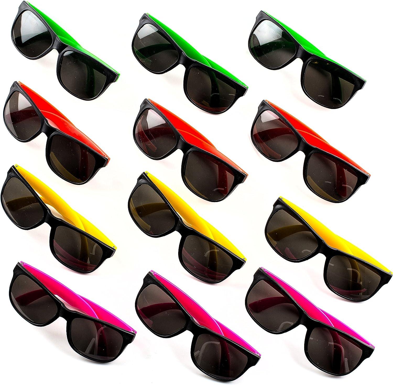 Neliblu Neon Bulk Kids Sunglasses with UV Protection - Party Favors - 24 Pack - Bulk Pool Party Favors, Goody Bag Fillers, Beach Party Favors, Bulk Party Pack of 2 Dozen