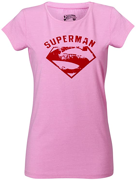 GOZOO Superman Camiseta Mujer Vintage Flock 100% Algodón Rosa