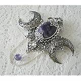 Amethyst Triple Moon Goddess Comb wiccan jewelry pagan jewelry wicca jewelry goddess jewelry witch comb witchcraft wiccan comb pagan comb