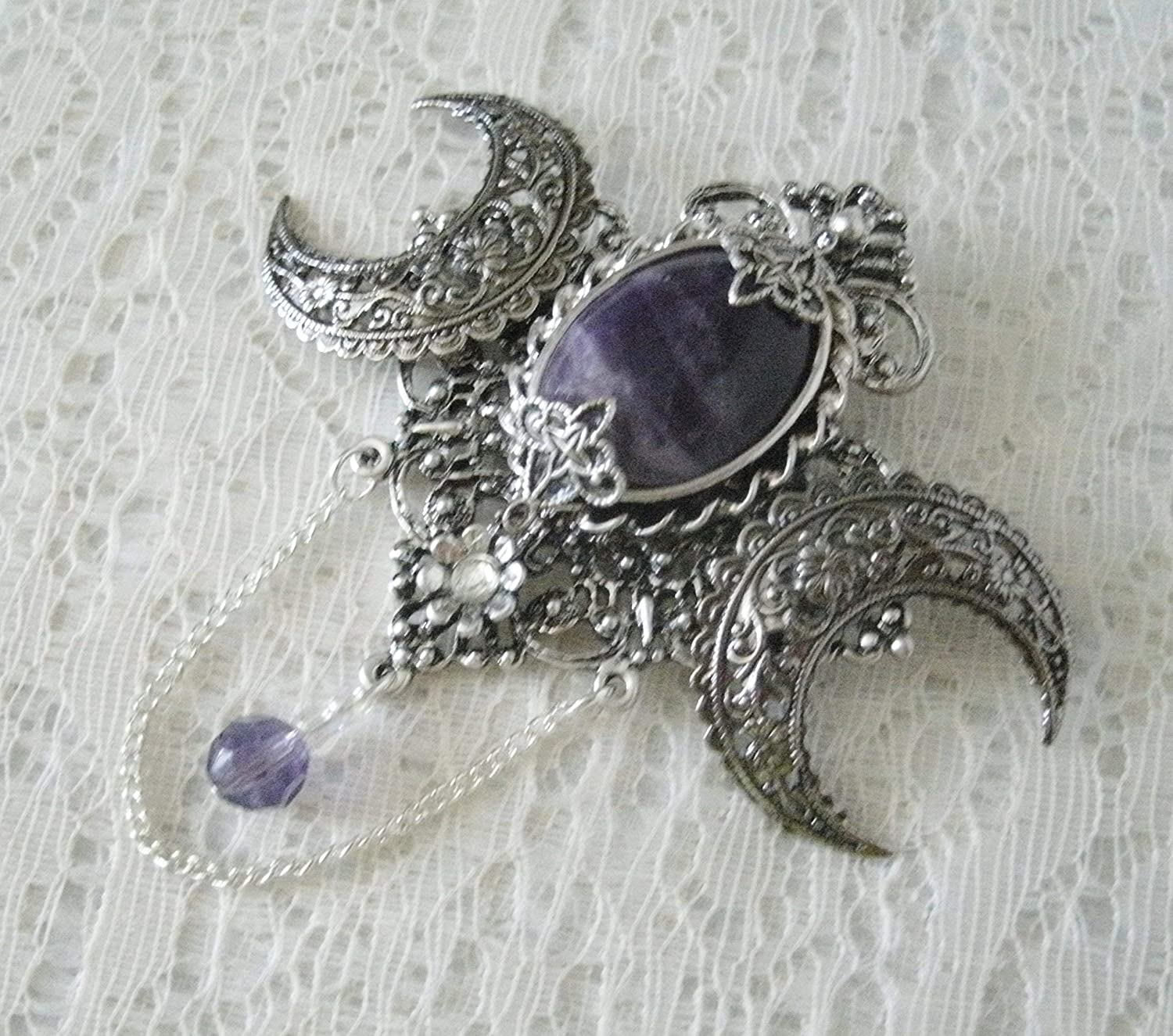 cloak pin handmade jewelry wiccan pagan wicca witch witchcraft magic Goddess Brooch