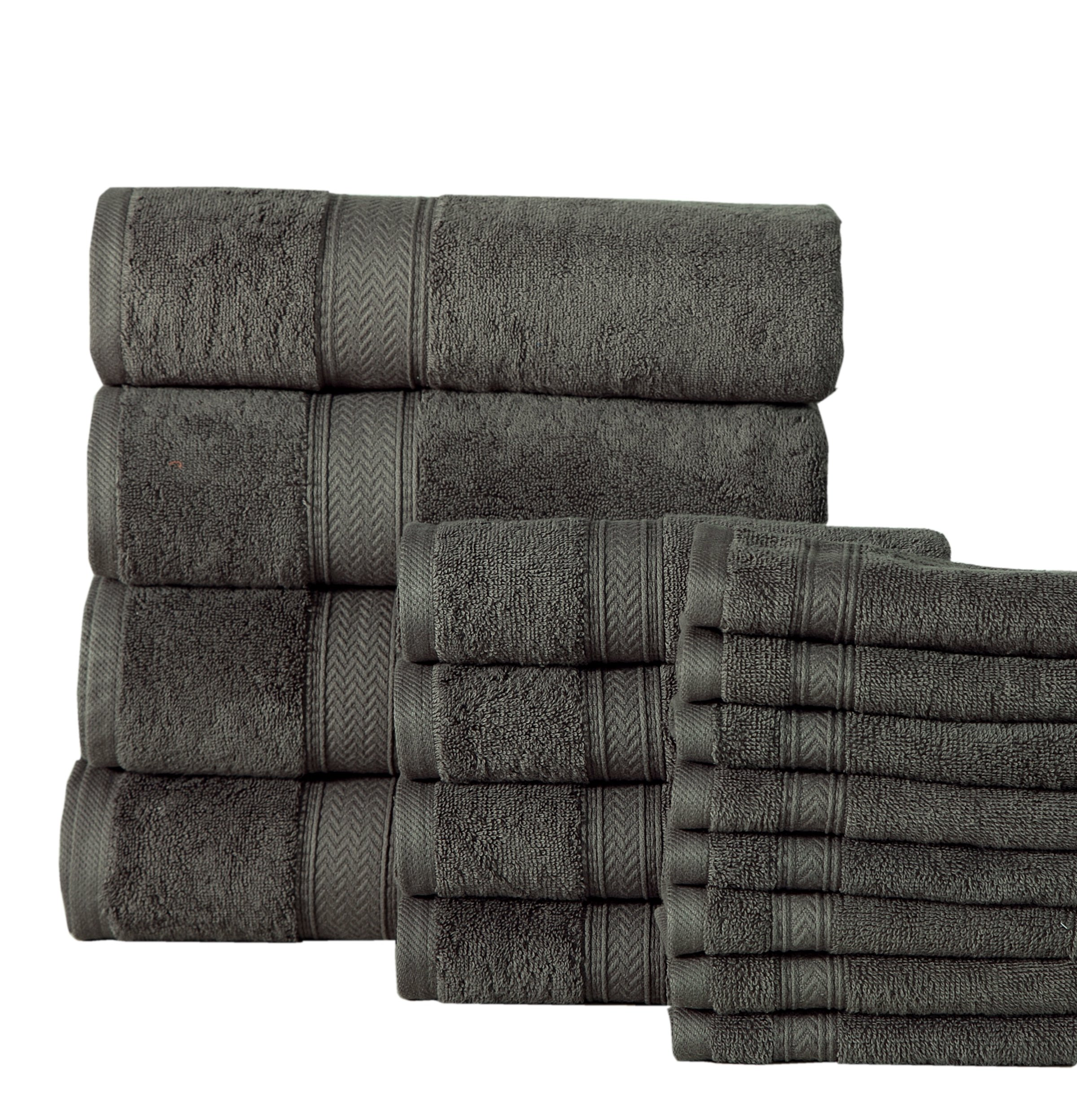Affinity Home Collection 16 Piece 600 GSM Luxurious Soft Cotton Luxury Towel Set, Grey