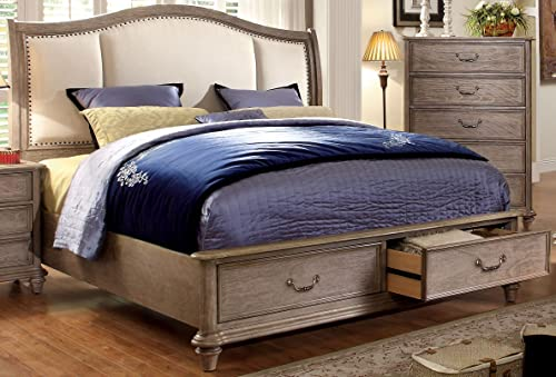Furniture of America Brahms Platform Bed with Storage, Eastern King, Natural Wood