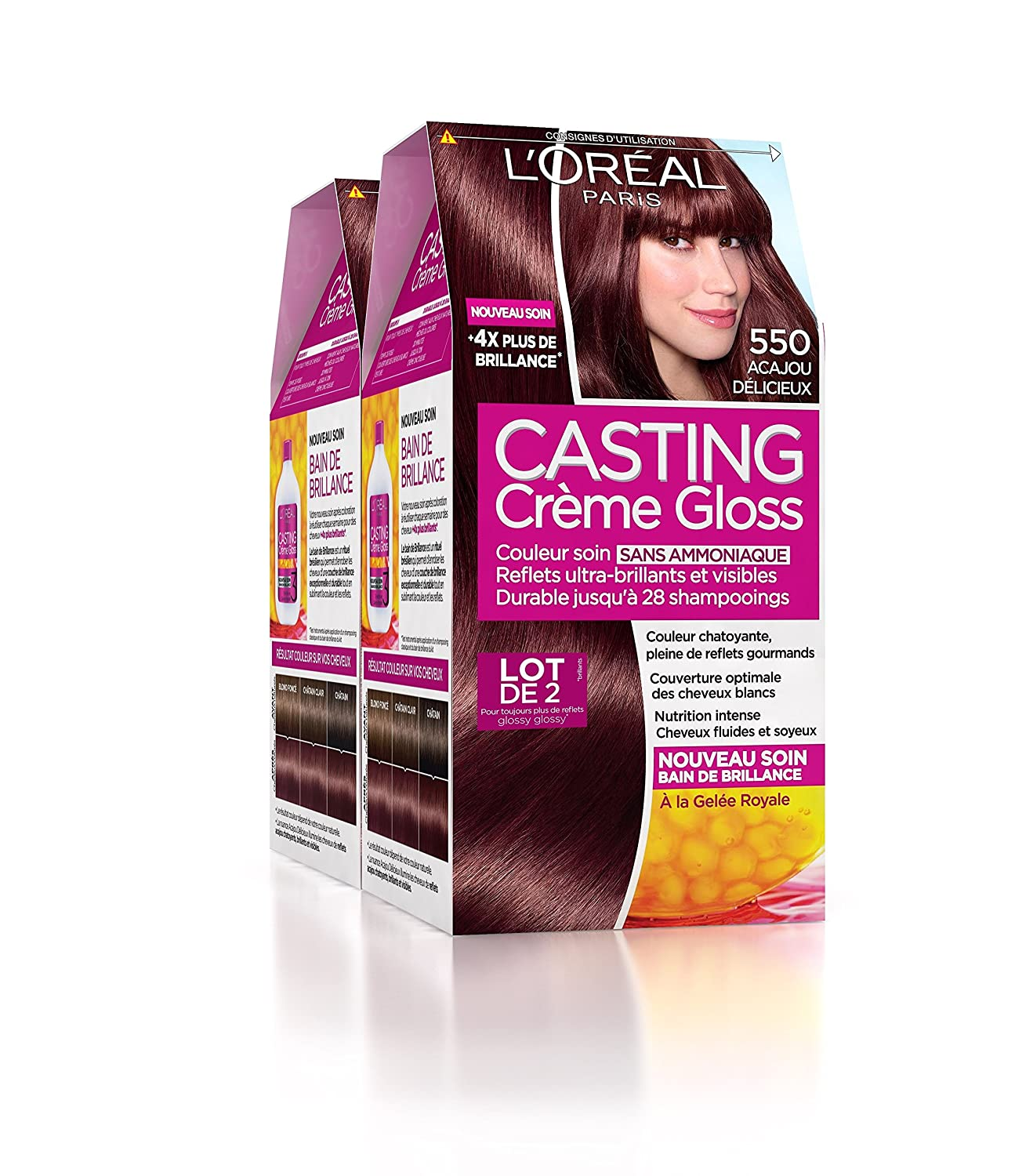 loral paris casting crme gloss coloration ton sur ton sans ammoniaque 550 acajou lot - Coloration Sans Ammoniaque Schwarzkopf