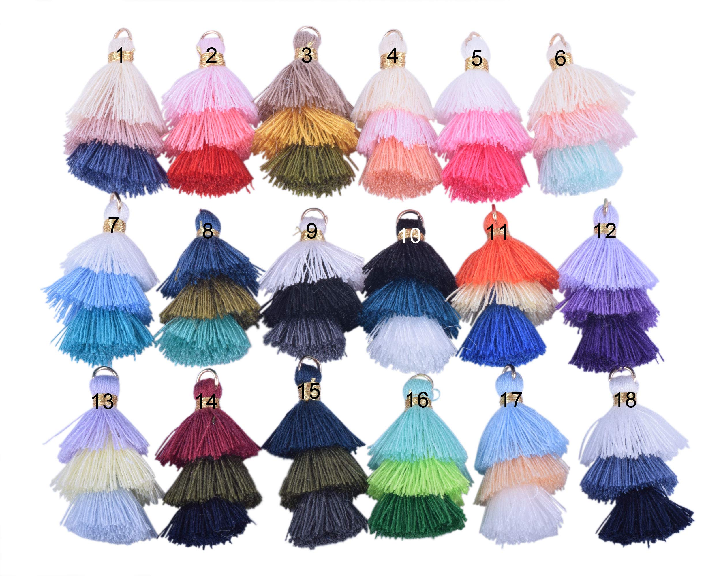 KONMAY 50pcs Bulk 1.4''(3.5cm) Tiny Tri-Layered Tassels with Gold Jump Ring for Jewelry Making, Clothing by Konmay