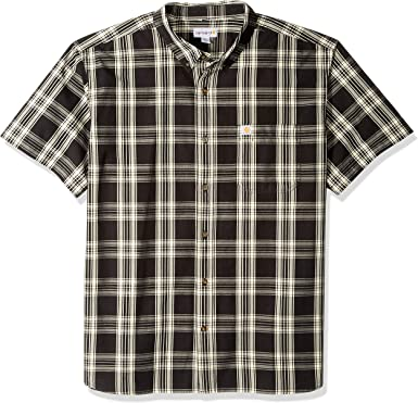 Carhartt Mens Tall Big & Tall Essential Plaid Button Down Short Sleeve Shirt: Amazon.es: Ropa y accesorios