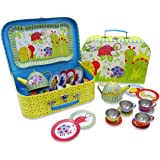 Wiggly Bug Tin Tea Set & Carry Case Toy (14 Piece Kids Tea Set) Green Blue Yellow Red - Slimy Toad