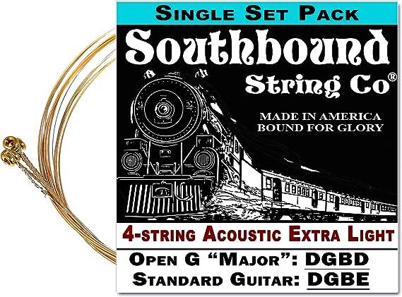Acoustic Extra-Light 4-String Cigar Box Guitar Strings - Open G/Open D/Standard Tuning