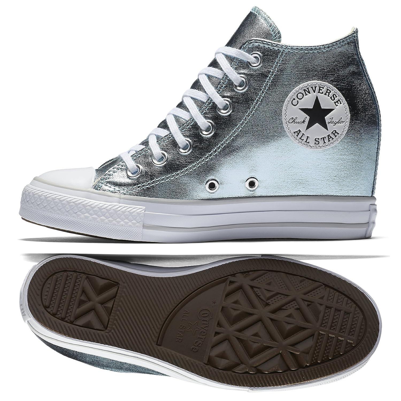 Converse Women's Chuck Taylor Lux Wedge Sneaker Metallic B06XXXS8J1 10 B(M) US|Metallic Glacier/White
