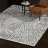"Amazon Brand – Rivet Contemporary Abstract Area Rug, 10' 6"" x 7' 10"", Ivory, Black"