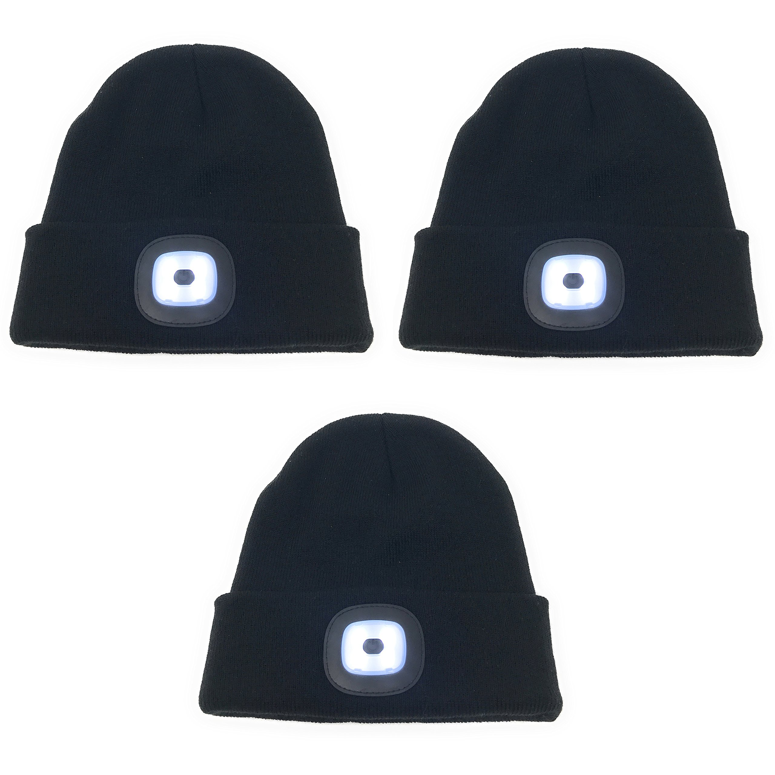 3-Pack Bulk LED Knit Beanie Stocking Caps / Camping Light / Flashlight - incl batteries - Perfect for skiing, running, hiking, camping, or around the house