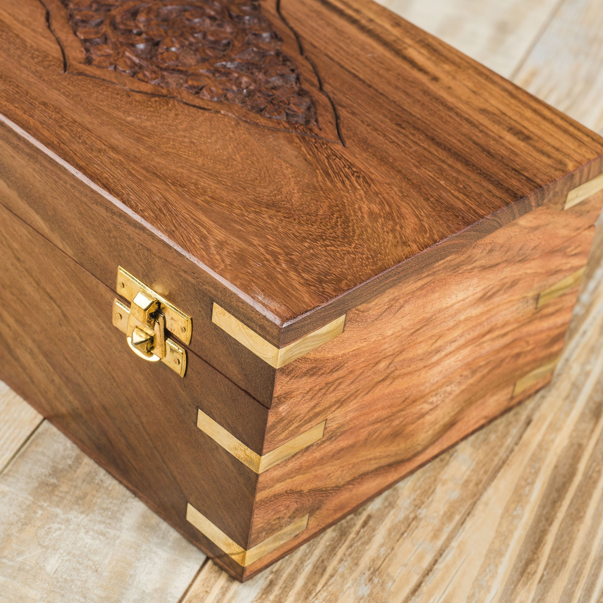 Rusticity Wood Tea Bag/Spice Storage Box with Lid and 9 pockets | Handmade | (10.2 x 6.2 x 4 in) by Rusticity (Image #3)