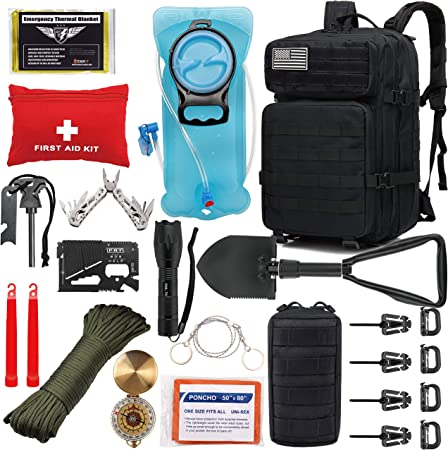 EVERLIT 42L Tactical Backpack Survival Kit Bugout Bag Assault Pack Rucksack with Hydration Bladder and Survival Gear