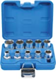 BGS 2434 | kopplingsnyckel-insatssats sexkant | 10 cl | 12,5 mm (1/2 tum) | tums storlekar | CV-stål