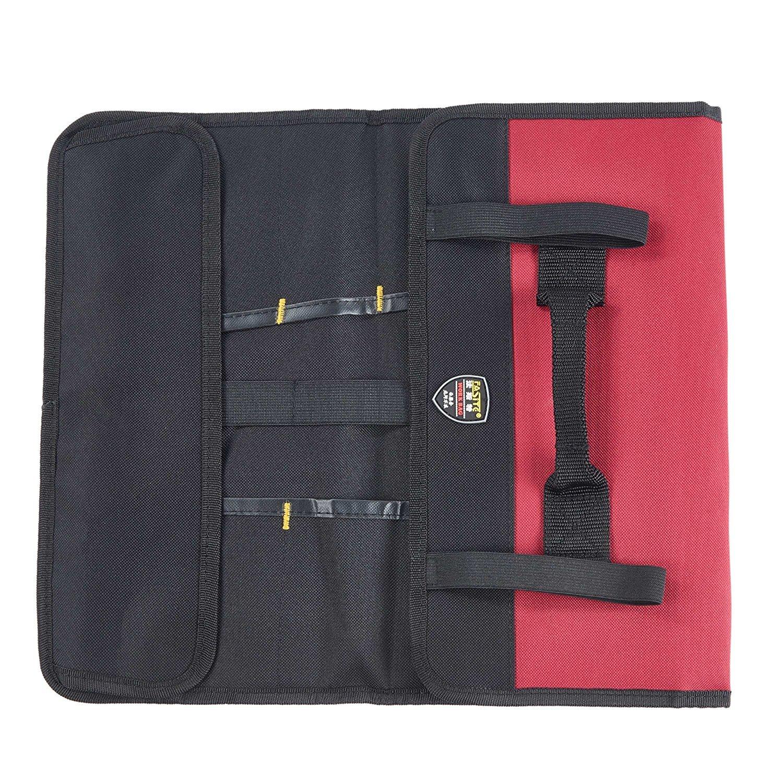 Babimax Rolltasche Werkzeugetasche Tragetasche rot schwarz 600 Denier Nylon aus Oxford leer handtragend Stifthalter Dukumententasche mit 20 F/ächer leer f/ür Techniker und Mechaniker