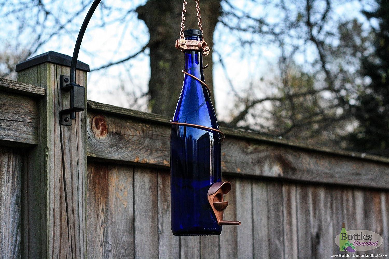 Blue and Copper Wine Bottle Bird Feeder - Gift for Mom - Outdoor - Patio - Handmade Wine Bottle Decor - Gift for Women - Garden Gift - Decor