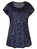 3f33a52a8e7f8f PrettyGuide Women s Evening Tops Sparkle Shimmer Glam Sequin Blouse Navy S  US6-8