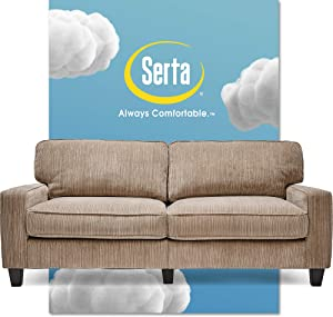 """Serta Palisades Upholstered Sofas for Living Room Modern Design Couch, Straight Arms, Soft Fabric Upholstery, Tool-Free Assembly, 78"""", Beige"""