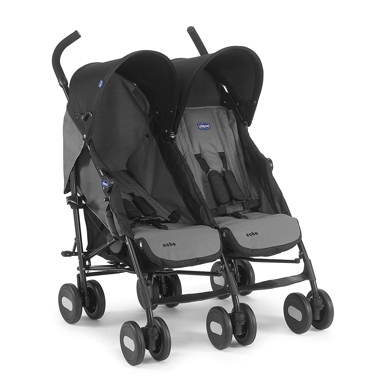 Chicco Echo Twin Silla de paseo gemelar, ligera y compacta, color negro