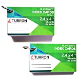Turron Set of 2 Small (2.4 x 4 inch) Binding Ringed (detachable) Blank White Index Flash Cards (54 cards per set, 220 gsm) suitable for Exam Preparation, Cheat Sheets, Short Notes, Syllabus Revision