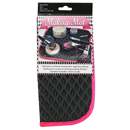 S & T Make Up Mat, Black With Pink Trim