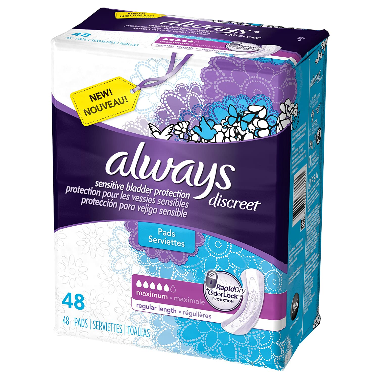 Amazon Always Discreet Incontinence Pads Maximum Absorbency