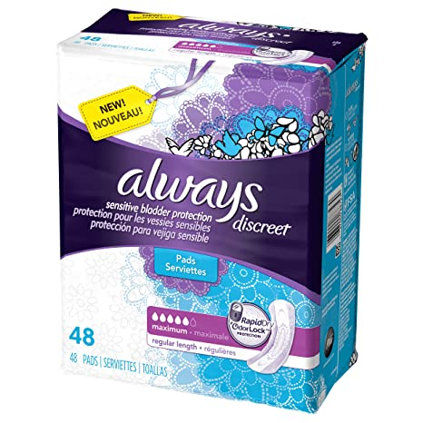 Amazon.com: Always Discreet Incontinence Pads, Maximum Absorbency - 48 ct - Maximum: Health & Personal Care