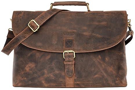 LEABAGS Nottingham Maletín de Cuero auténtico de búfalo en el Estilo Vintage - BrownFox