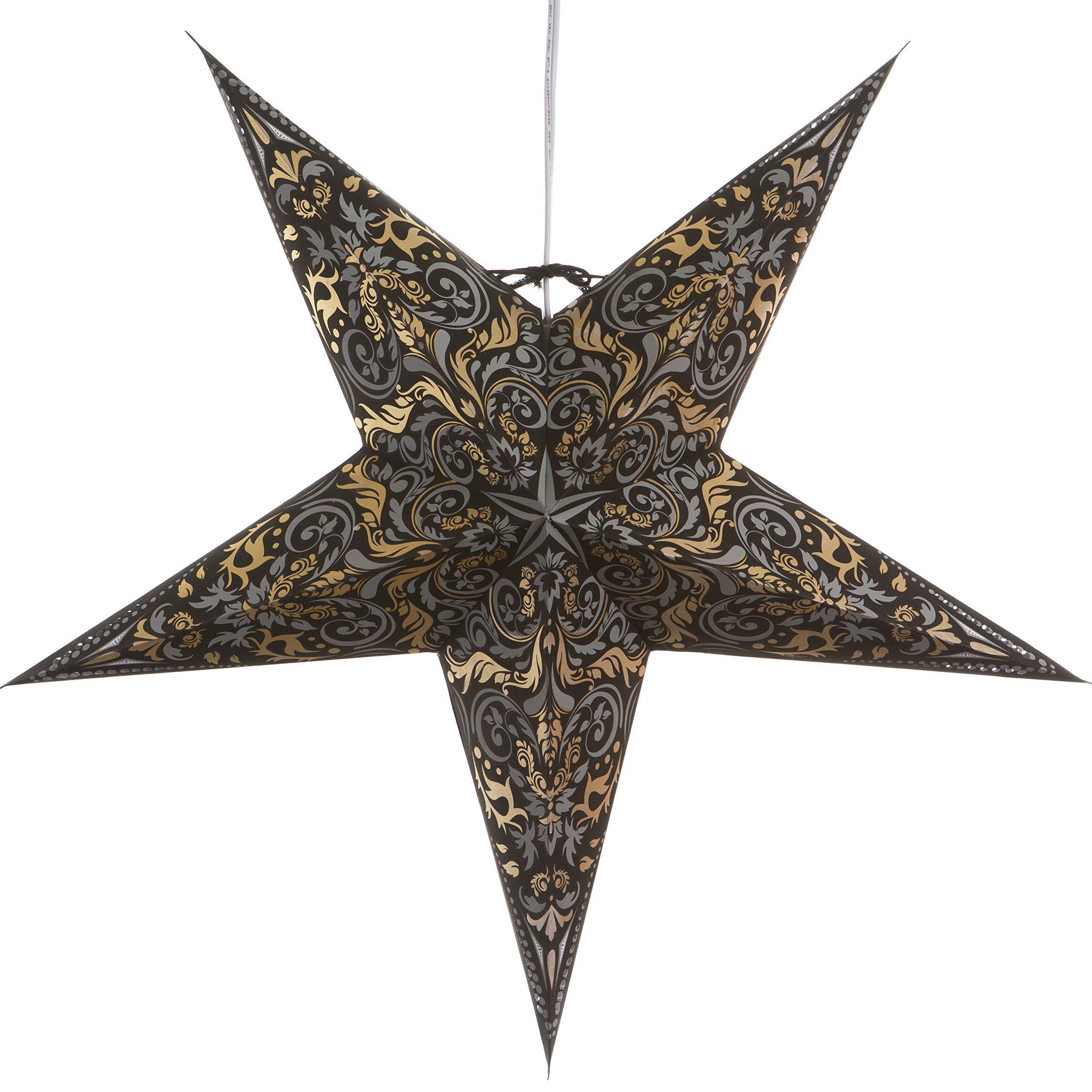 Fleur de Lis Black Paper Star Lantern with 12 Foot Power Cord Included