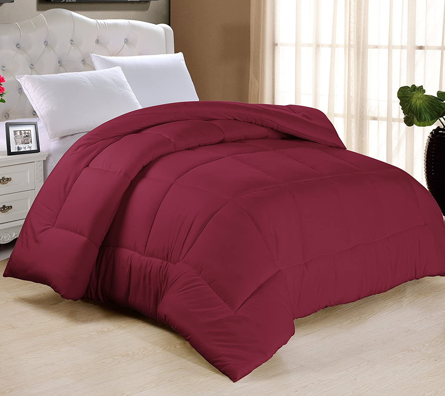 "Light-Warmth Goose Down-Alternative Comforter, King 104"" x 90"", Burgundy"