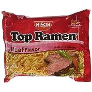 Nissin Top Ramen Beef Flavor Ramen Noodle Soup 3 oz (Pack of 24)