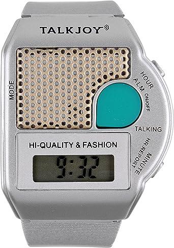 Reloj de pulsera parlante de plata, reloj despertador, aviso, hora pulsando un botón, reloj ciego, para personas mayores, discapacidad visual, ayuda digital para la vida cotidiana