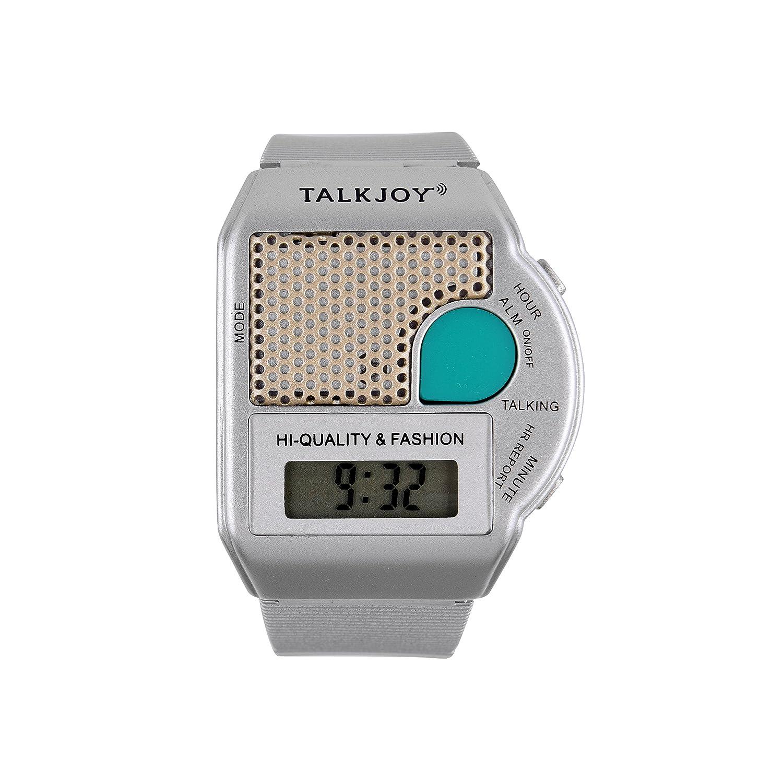Reloj De Pulsera Parlante Plata Reloj despertador parlante Reloj Tiempo botón de muñeca reloj