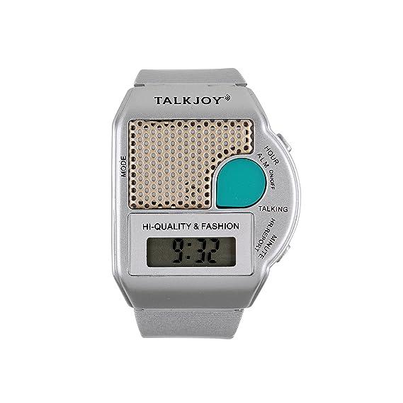 Reloj De Pulsera Parlante Plata Reloj despertador parlante Reloj Tiempo botón de muñeca reloj: Amazon.es: Relojes