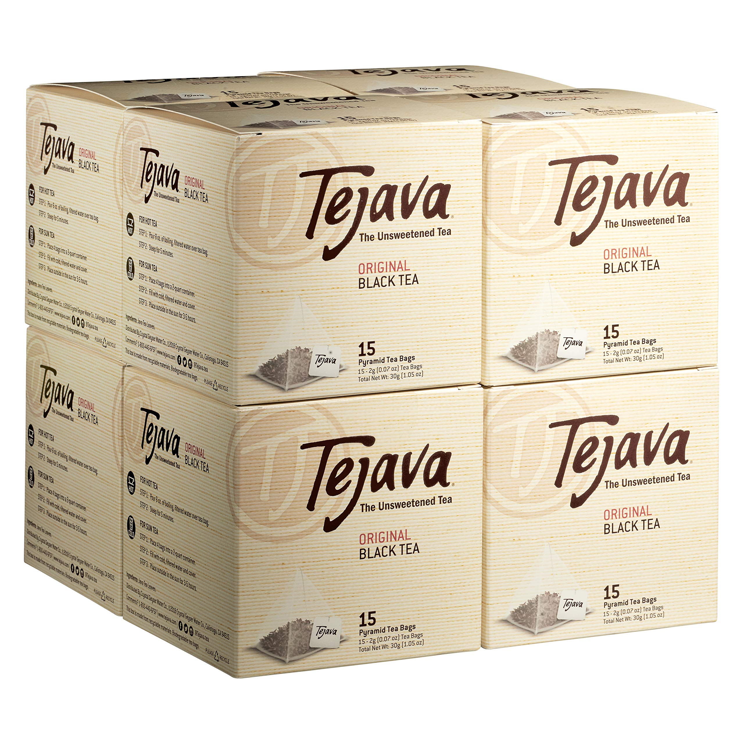 Tejava Original Black Tea Bags, Case of 8 Boxes, 15 Tea Bagsper Box, Award-Winning Tea, Unsweetened, Individually Packaged Pyramid Bags, 100% Natural