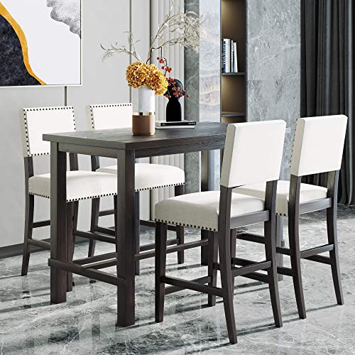 Merax 5 Piece Dining Table Set Counter Height Dining Set