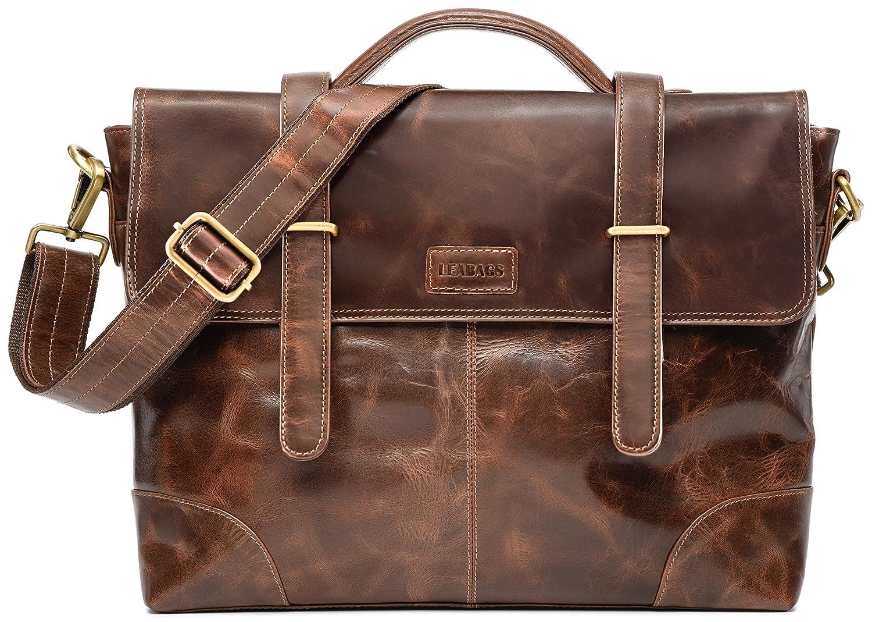 LEABAGS Liverpool Aktentasche aus echtem Büffel-Leder im Vintage Look - Braun
