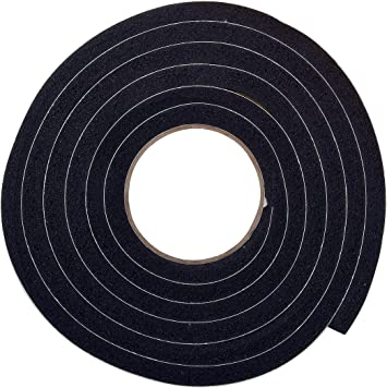 """Thermwell 3//8/"""" x 3//16/"""" 6 Pack Black Foam Weather-Strip Tape 10/' High Density"""