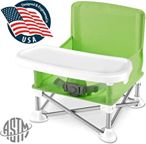 Baby Seat Booster High Chair - Portable Space Saver High Chair Toddler Seat - Portable High Chair Pop-n-Sit Folding Feeding Booster w/Safety Belt/Food Tray/Travel Bag - SereneLife SLBS66G (Green)