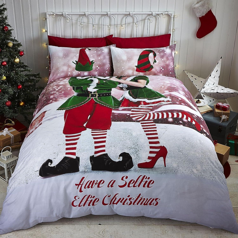 Catherine Lansfield Selfie Elfie Easy Care Double Duvet Set Multi Turner Bianca BD/43012/W/DQS/MU
