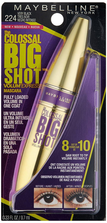 Maybelline Volum Express Colossal Big Shot Mascara, 224 Very Black Washable - 0.33 oz: Amazon.es: Belleza