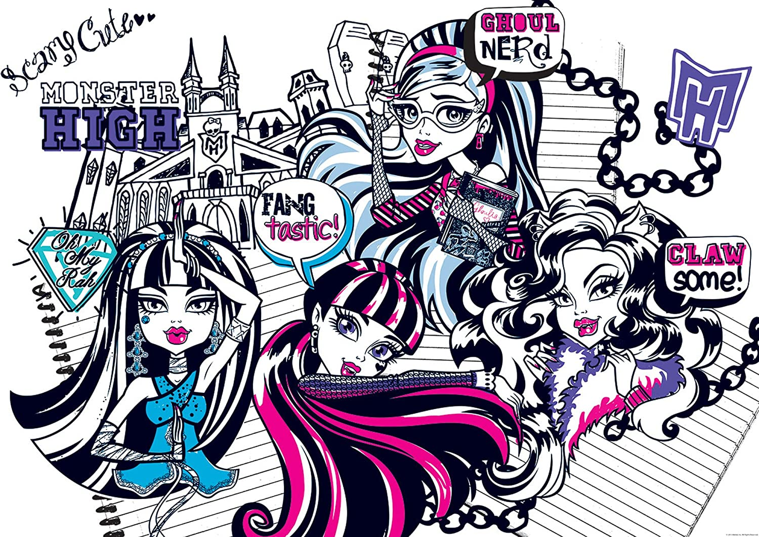 Monster High Scary Cute Wallpaper Mural Amazon Co Uk Kitchen Home