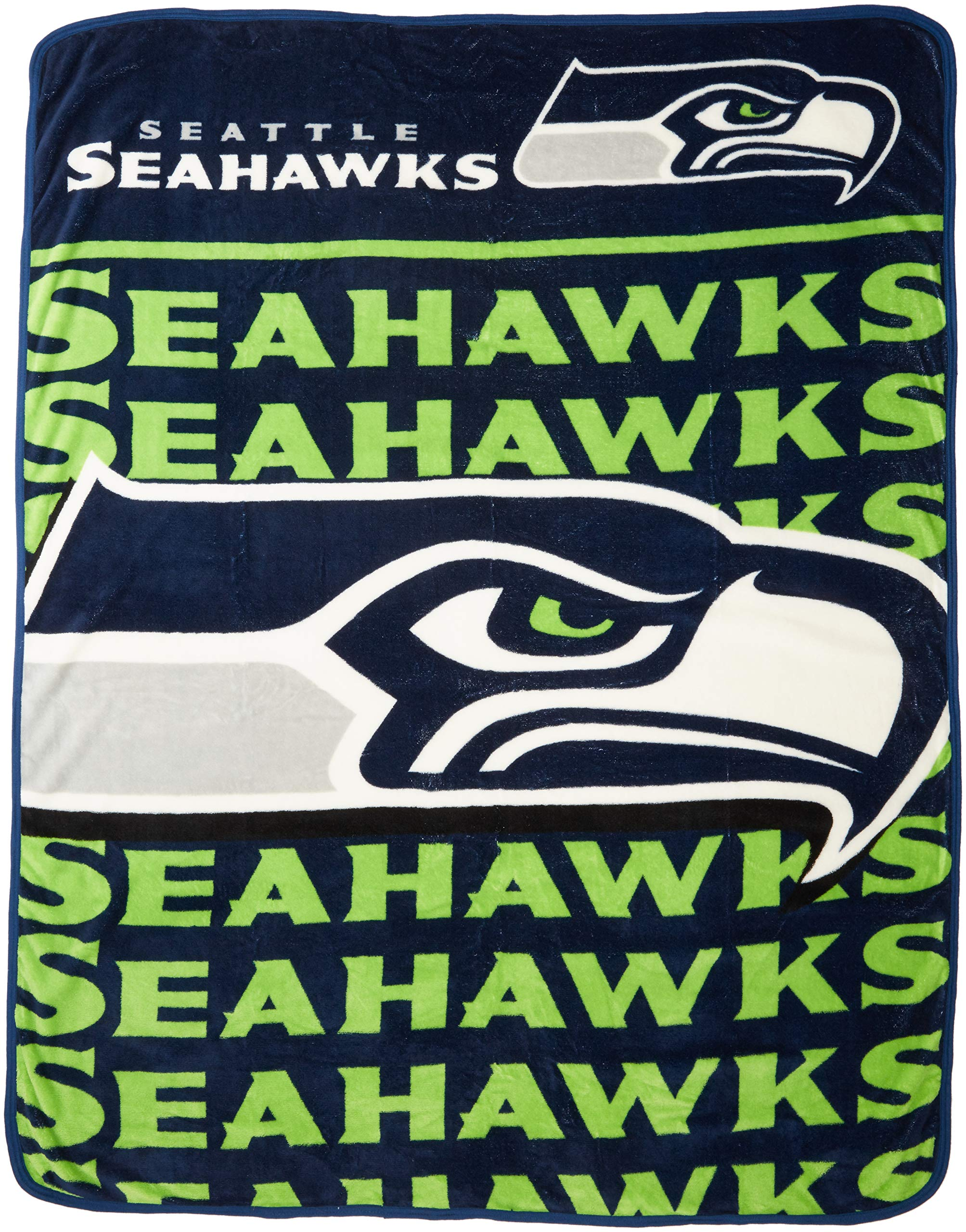 The Northwest Company Officially Licensed NFL Seattle Seahawks Livin Large Micro Raschel Throw Blanket, 46'' x 60'', Multi Color by The Northwest Company