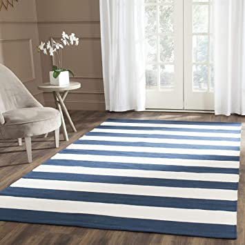 Safavieh Montauk Collection Mtk712h Handmade Stripe Cotton Area Rug 8 X 10 Navy Ivory Furniture Decor