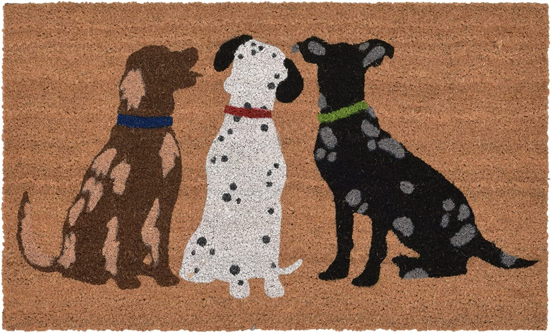 Liora Manne Natura Three Dogs Natural Outdoor Welcome Coir Door Mat, 1'6