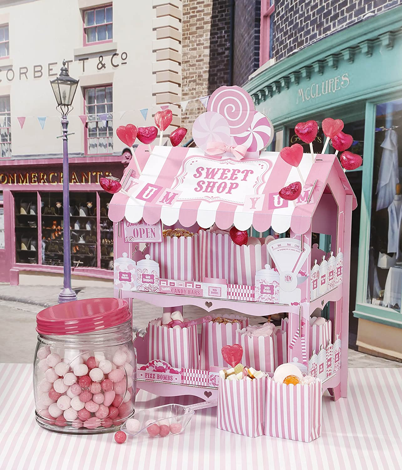 Amazon.com: Talking Tables Pink Party Street Stall Candy Shop 2 Tier ...