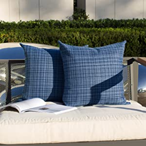 Kevin Textile Pack of 2 Decorative Outdoor Waterproof Throw Pillow Covers Stripe Square Pillowcases Modern Cushion Cases for Patio Couch Bench 18 x 18 Inch Navy Blue
