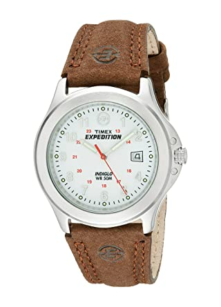 af1d6bb3c Timex T44381D7 Men's Expedition Metal Field Brown Leather Strap Watch