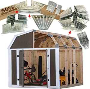 50% Structurally Stronger Truss Design Easy Shed Kit Builds 6'–14' Widths Any Length - Bonus Miter Template, Storage Barn Shed Garage Playhouse Easy Framing Kit 2x4 Basic Barn Roof Wood NOT Included