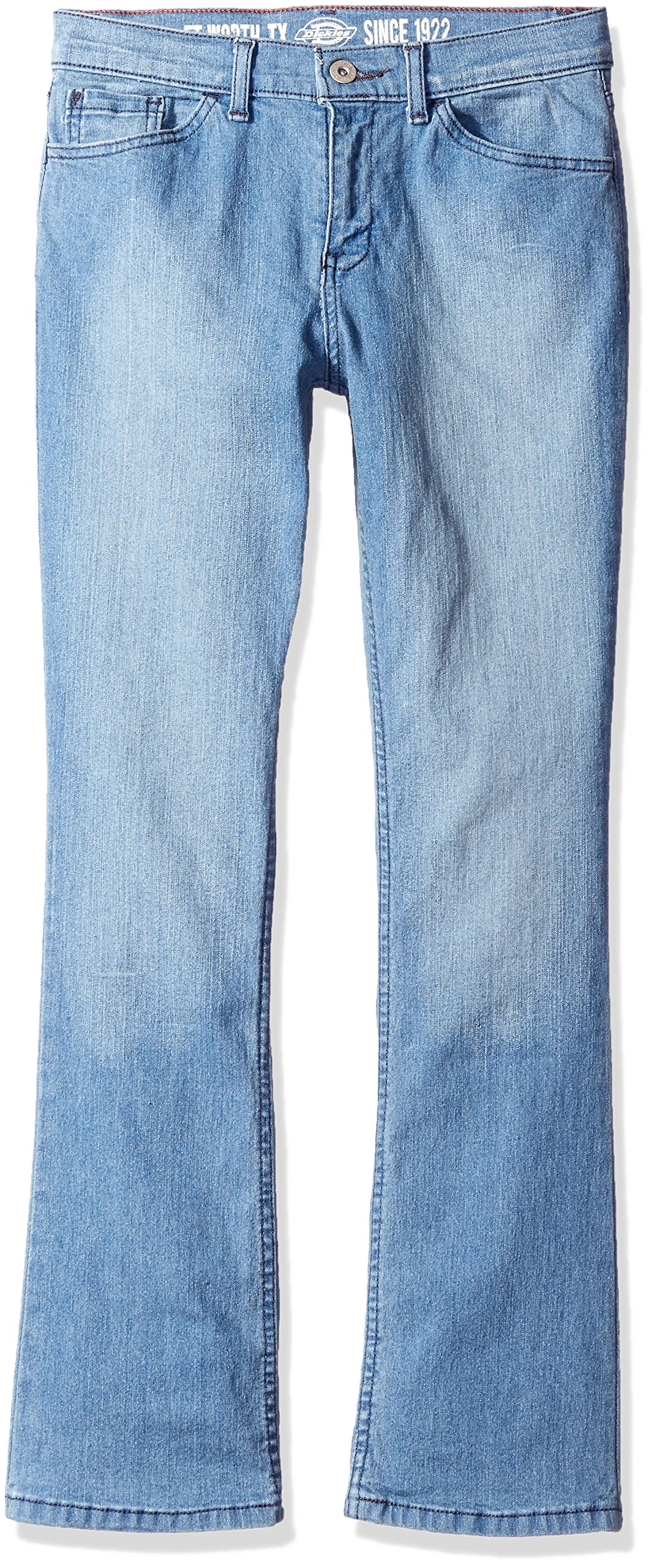 Dickies Big Girls' Stretch Boot Cut Denim Jean, Bleach Stonewash Tint, 10